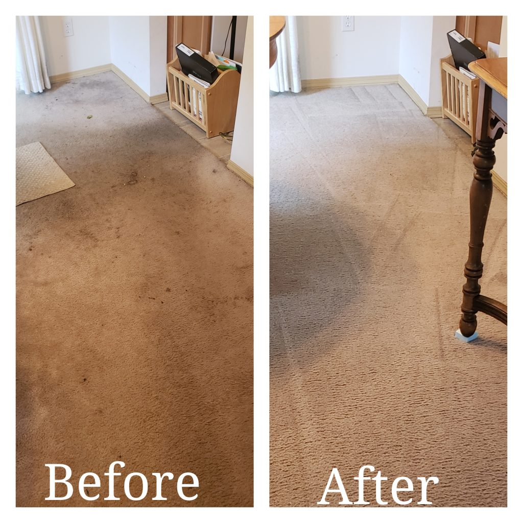 Before picture shows dirty carpet. After picture shows clean carpet.